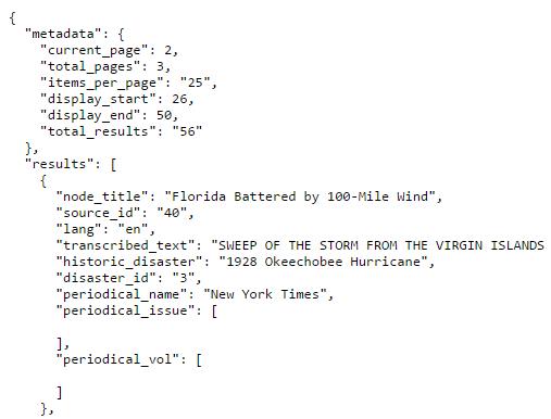 API results - json